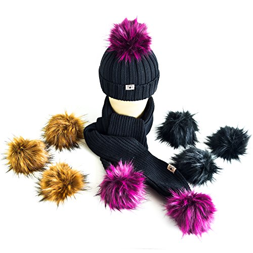 Luxury Merino Wool Hat and Scarf Set with 3 Classic Looks for All Occasions. 9 Fluffy Fur Ball Pom Poms and Super Soft and Comfortable Beanie and Scarf. Wool Scarf Hat