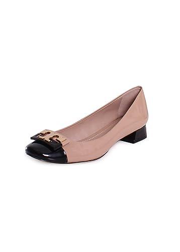 1e5ef616d Tory Burch Gigi Colorblock Patent Leather Heel Pumps in Tory Beige Black  283 Size 9