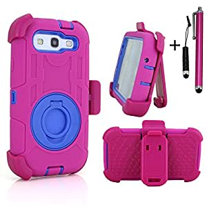 Cellular360 Ultra Shock&Drop-Proof Army-Grade Protective Case and Holster with One Headphone Jack Stylus and One Stylus Pen for Samsung Galaxy S3 / Samsung Galaxy S 3 (All Versions) - Extremely Protective Dual layer Case with 360 Degrees Swivel Ring Kickstand and Rugged Face-in and out Holster (Ultra-shock - Hot Pink and Blue)