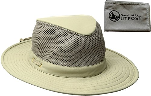 Microfiber Rain Hat (Tilley Endurables Airflo LTM8 Nylamtium Khaki/Olive Hat Bundle with Cloth (7 3/4))