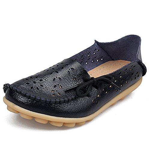 Miagolio Donna Scarpe Stringate Basse Mocassino Flats In Pelle Morbide Casuale Di Vari Colori Tglia 34-43 Nero