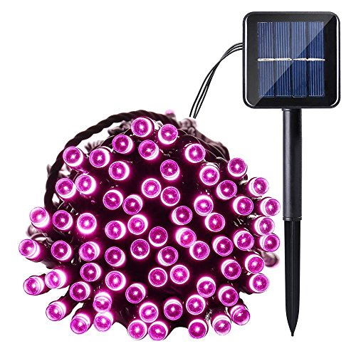Qedertek Solar String Light, 33ft 100 LED 8 Modes Light Sensor Control Waterproof Decorative Ambiance Light For Patio, Lawn, Garden, Fence, Balcony, Party, Holiday, Christmas Decorations(Pink)