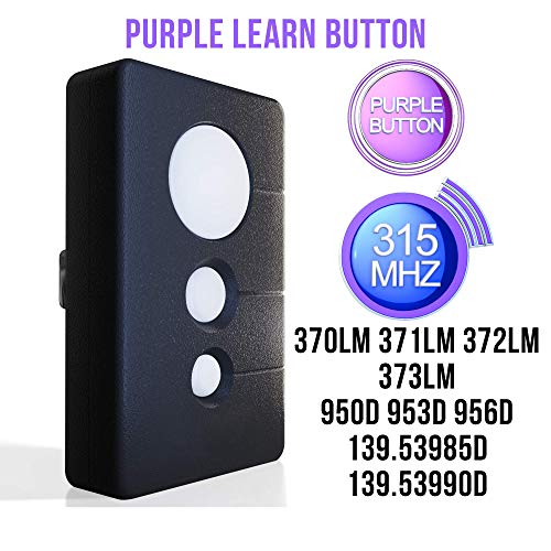 Replacement for Sears Craftsman Garage Door Opener Remote Chamberlain LiftMaster Transmitter Control 370LM 371LM 372LM 950D 953D 139.53985D Compatible Program 315mhz with Purple Learn Button