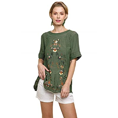 Umgee Women's Short Sleeve Embroidered Blouse at Women's Clothing store
