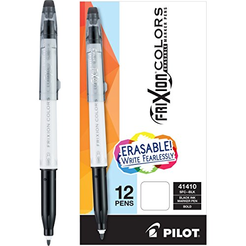Pilot FriXion Colors Erasable Marker Pen Bold Point (1.) Black Ink Box of 12 Markers; Make Mistakes Disappear, No Need For White Out. Smooth Lines to the End of Page, ()