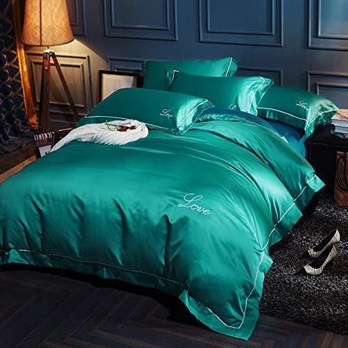 寝具布団カバー 純綿洗浄絹の寝具4組のシーツ掛け布団カバー枕カバー、グリーン、200 * 230 cm キルト掛け布団寝具セット