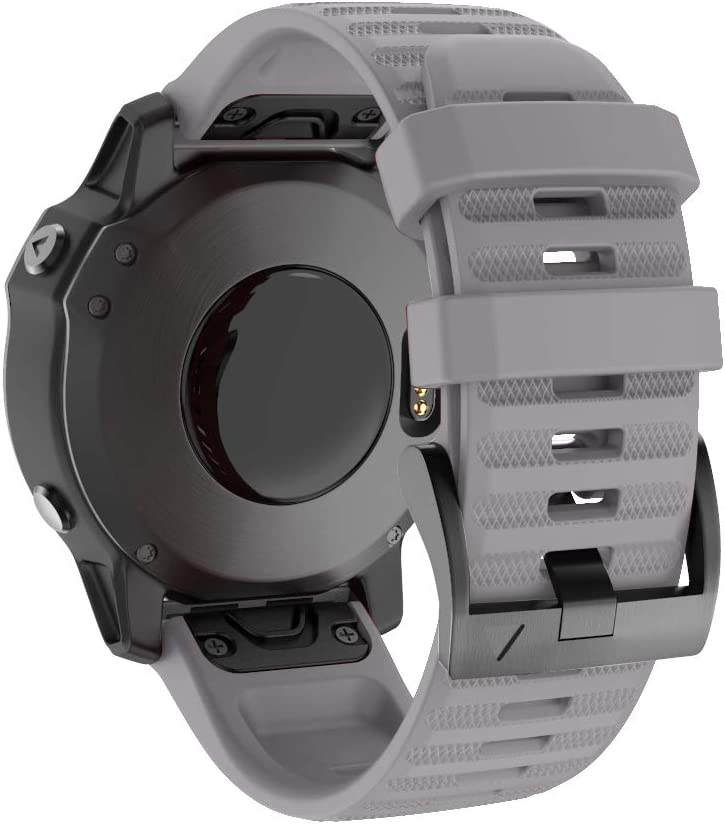 Isabake Watch Band for Garmin Fenix 6X/6X Pro QuickFit 26mm Band Compatible with Fenix 6X/6X Pro Fenix 5X/5X Plus Fenix 3/3 HR(Gray)