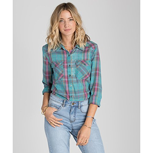Bay Flannel Shirt - Billabong Juniors Flannel Frenzy Plaid Shirt with Front Pockets, Emerald Bay, S