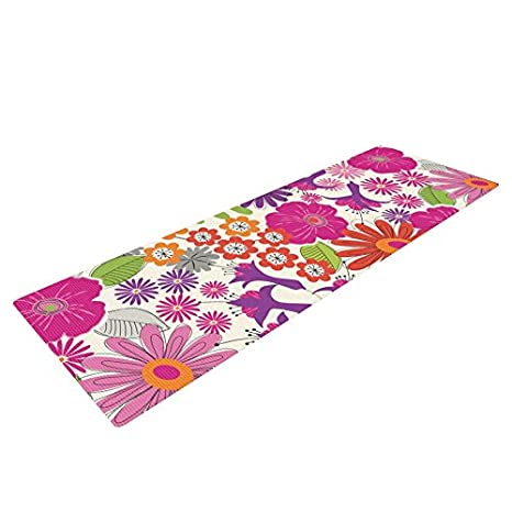 Kess InHouse Jacqueline Milton Lula - Tropical Yoga Exercise Mat, Pink/White, 72 x 24-Inch