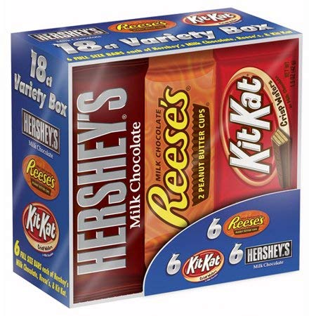 (Hershey's, Halloween Candy, Full Size Chocolate Candy Bars Variety Pack, 27.3 Oz, 18 Ct)