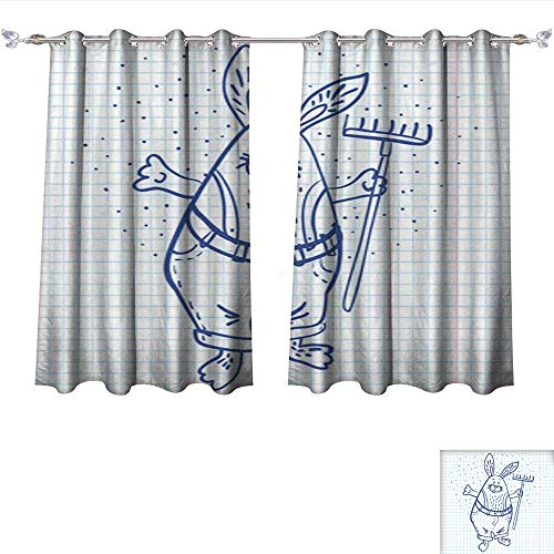 Auraisehome Customized Curtains Easter Bunny The Gardener with a rake Vector Illustration Thermal Insulated Blackout Curtains W120 x L72/Pair
