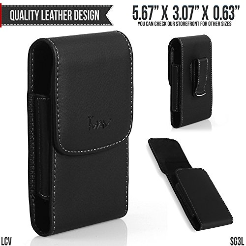 Nokia E90 Communicator Belt Pouch, TMAN [Large Leather Vertical] with Otterbox, Lifeproof, Battery Case on - Metal Clip Holster / Magnetic Closure Case, Cover with Belt Loop
