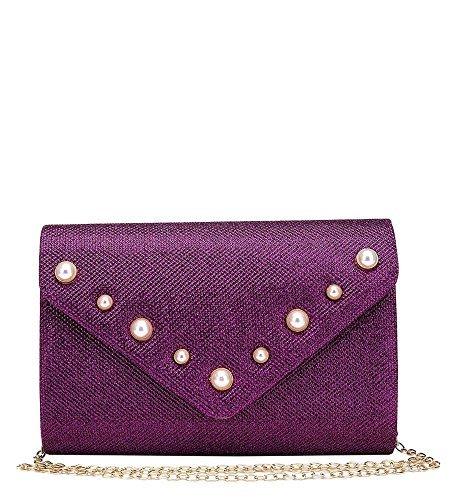 Small enveloppe haute Porte Décoré femmes Fête Argent pochette Pourpre nouveau pour DIVA 's main sac paillette pour à monnaie Soirée CBrCWU