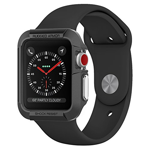 Spigen Rugged Armor Apple Watch Case 38mm with Resilient Shock Absorption for 38mm Apple Watch Series 3 / Series 2/1 / Original (2015) / Nike+ Sport Edition - Black by Spigen (Image #9)