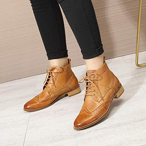 Heel Ankle Shoes Wingtip Oxfords Block up for Flying Brown Women's Booties Mona Women Boots Leather Perforated Lace q4OxxP8