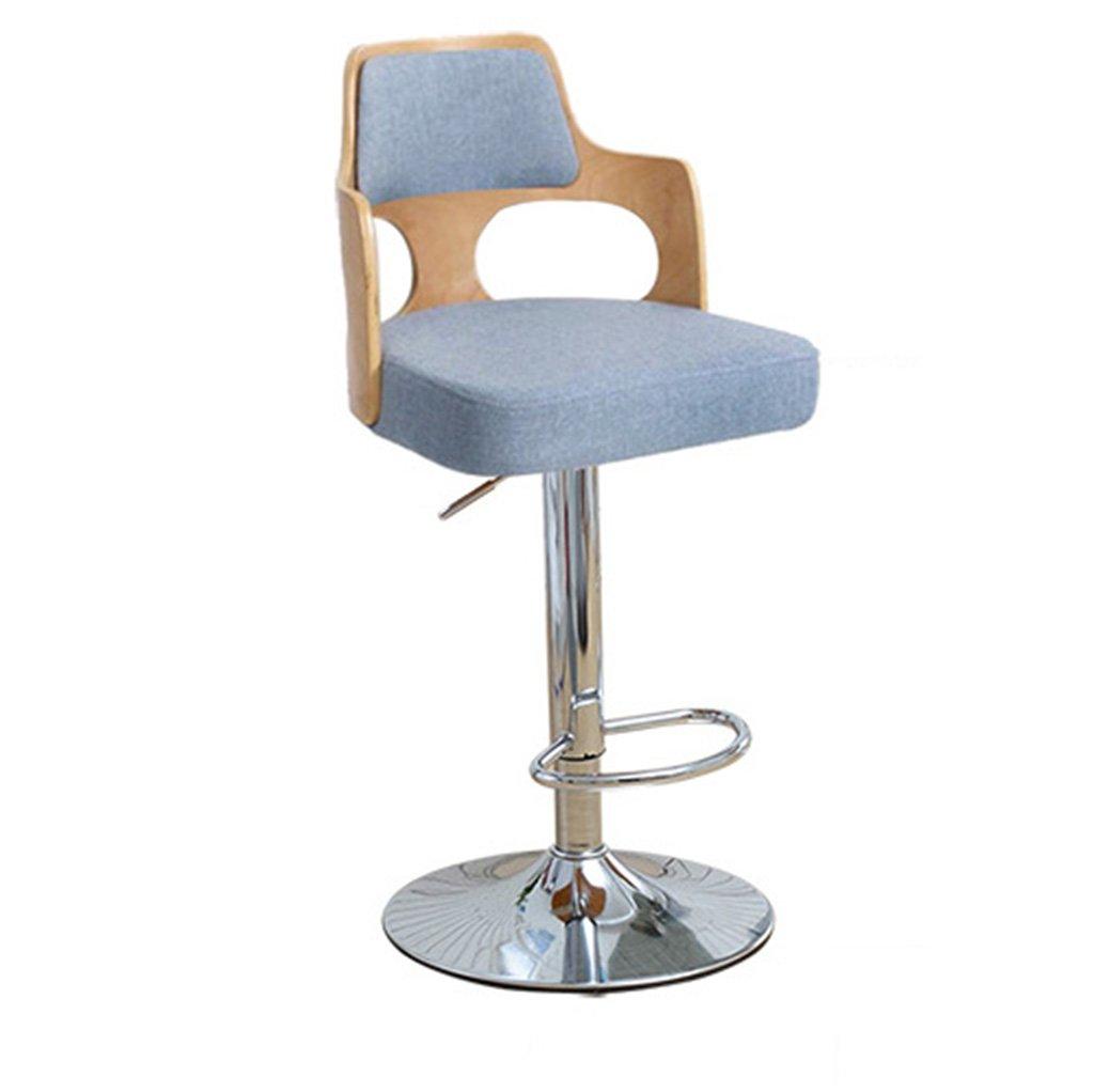 スツールヨーロッパスタイルのファッションバーのスツールバーチェアバースツールリフトチェアを回転ソリッドバーの椅子の背もたれレセプションチェアハイチェア (色 : 青) B07D32C9XS青
