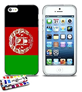 Carcasa Flexible Ultra-Slim APPLE IPHONE 5S / IPHONE SE de exclusivo motivo [Bandera Afganistán] [Gris] de MUZZANO  + ESTILETE y PAÑO MUZZANO REGALADOS - La Protección Antigolpes ULTIMA, ELEGANTE Y DURADERA para su APPLE IPHONE 5S / IPHONE SE