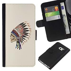 Be-Star la tarjeta de Crédito Slots PU Funda de cuero Monedero caso cubierta de piel Para Samsung Galaxy S6 EDGE ( Indian Headgear Feathers Chief Native )