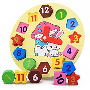 Funny live Cartoon Rabbit Digital Clock Shape Recognition Matching Early Development Wooden Toys Digital Geometry Clock For Children