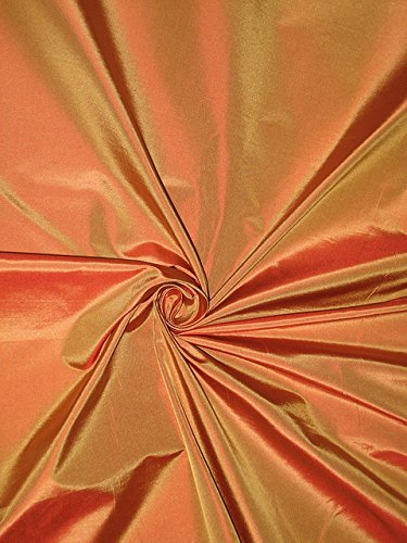 100% Pure Silk Taffeta Fabric Gold with Rust Shot - Hobbies,Home Decor,Sewing,Fashion,Doll Dress,Furnishing,Interior.
