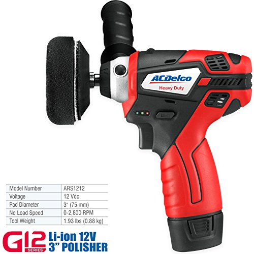 ACDelco G12 Series 12V Cordless 3'' Mini Polisher Tool Set with 2 Li-ion Batteries, Charger, and Accessory Kit, ARS1212 by ACDelco Tools (Image #1)