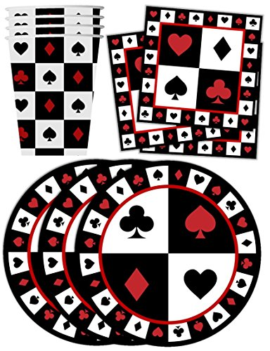 Casino Card Night Birthday Party Supplies Set Plates Napkins Cups Tableware Kit for (Poker Supplies Las Vegas)