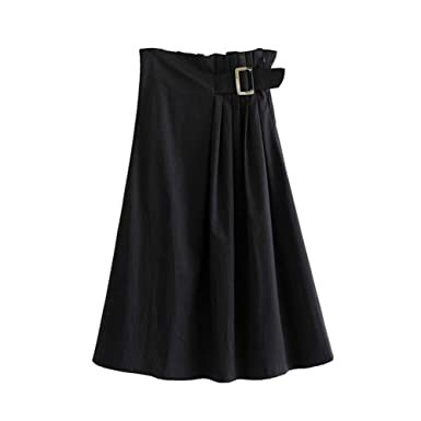 GYYWAN Mujeres Falda Midi Negra Faldas De Mujer Fajas Elásticas ...