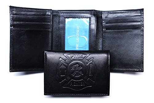 - Fire Fighter Embossed Leather Trifold Wallet - Black