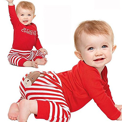 Christmas 4Pcs Outfit Set Baby Girls Boys My First Christmas Rompers(0-3 Months) by Von kilizo (Image #1)