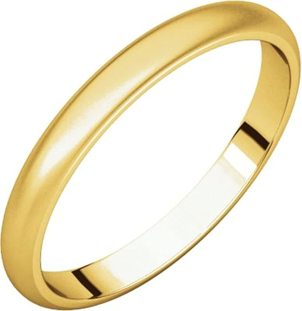 Bonyak Jewelry 14k Yellow Gold 2.5 mm Half Round Band Size 10