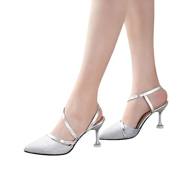 premium selection 662d2 1e465 Beikoard-scarpa da Donna con Tacchi Alti e Sottili con Paillettes e Tacchi  Alti