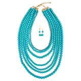 MYS Collection Women's Popular Layered Bubble Statement Necklace Set - Colorful Bead Multi Strand Necklace (Light Turquoise)