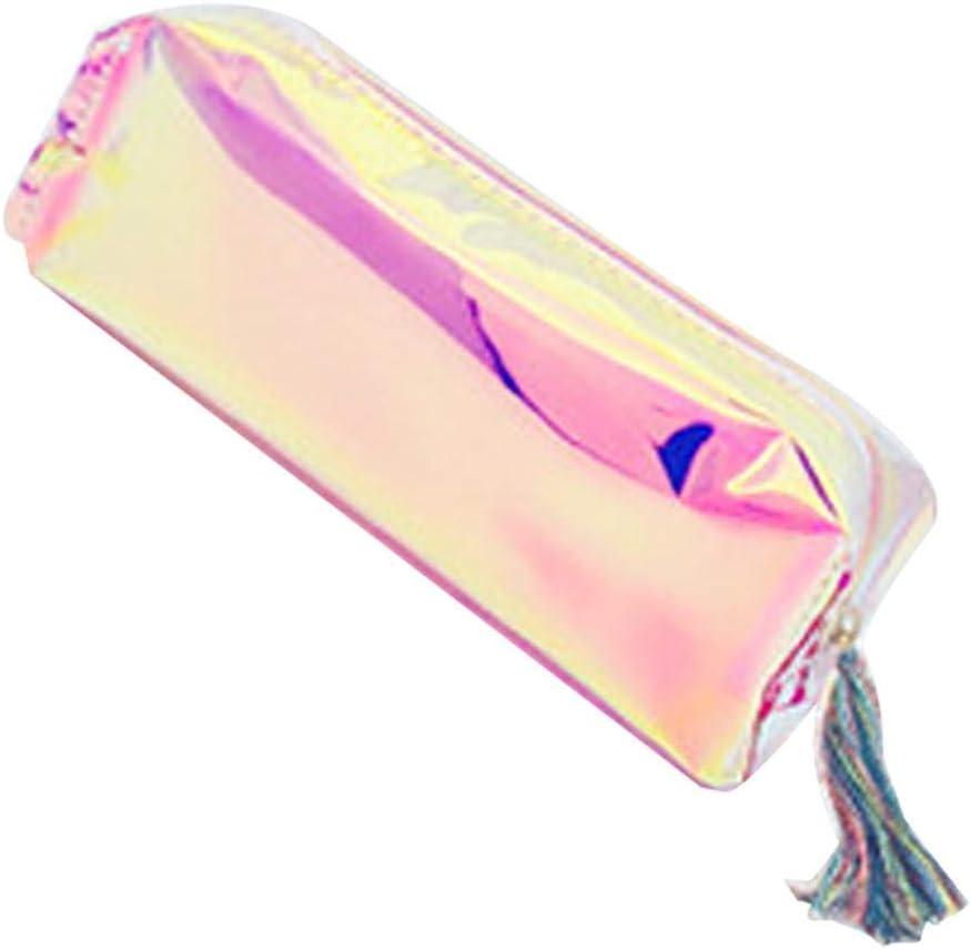 Fansi - 1 estuche para artículos de papelería, con láser, transparente, estuche portátil, para el colegio o las necesidades diarias, color Stil A 20cm*7cm*5cm: Amazon.es: Oficina y papelería