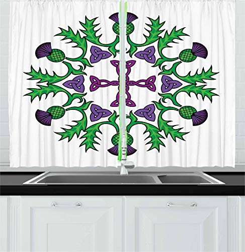 Ambesonne Thistle Kitchen Curtains, Abstract Wreath Image with Flowers of Thistles and Celtic Knot, Window Drapes 2 Panel Set for Kitchen Cafe Decor, 55