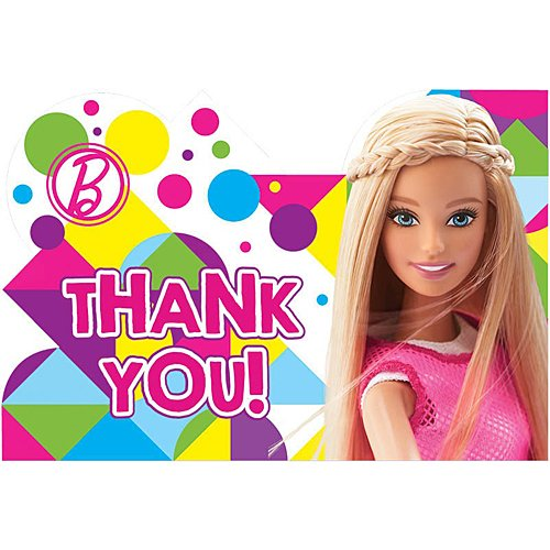amscan Postcard Thank You Cards | Barbie Sparkle Collection | Party Accessory
