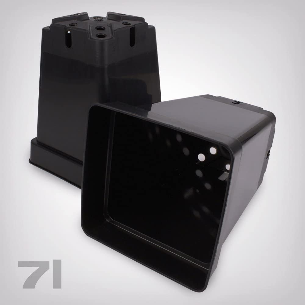 Macetero de plástico Cuadrado/Negro, 7L)