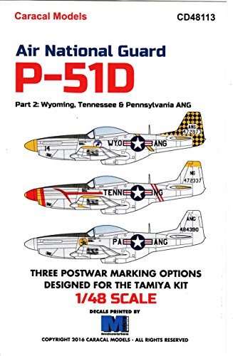 CARCD48113 1:48 Caracal Models Decals - Air National Guard P-51D Mustangs Part 2: Wyoming, Tennessee & Pennsylvania ANG [WATERSLIDE DECAL SHEET]