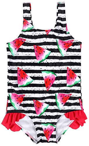 Anwell Girls One Piece Swimwear Watermelon Striped Swimsuit Pink 12-18 Months