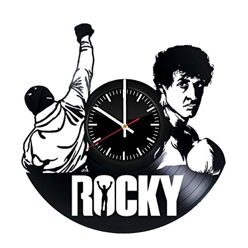 (Rocky Balboa Vinyl Records Wall Clock - Sports Drama Film Wall Art Room Decor Handmade Decoration Party Supplies Theme Stuff Birthday Gift For Kids Adults Men Women - Vintage And)
