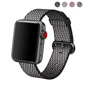 CHEEDAY Newest Woven Nylon Fabric Wrist Strap Replacement Band with Classic Stainless Steel Buckle for Apple Watch Series 3 / 2 / 1,Sport & Edition (Black Check 42mm)