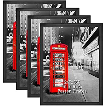 Amazing Roo Poster Frame 24x36, Black 24 x 36 Inch Picture Frames for Wall Decor, Set of 4
