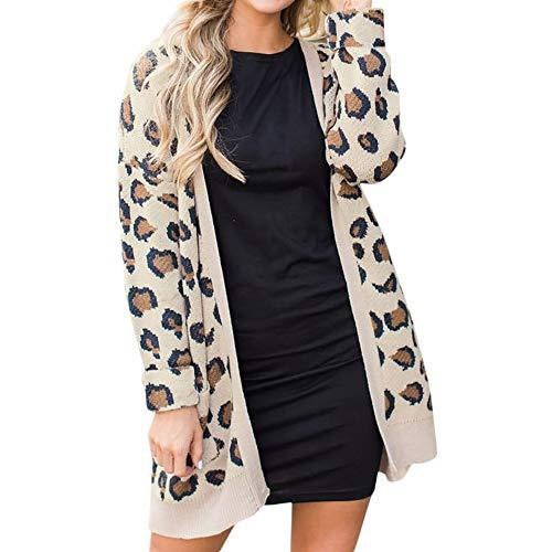 Orangeskycn Women Fashion Cardigan Open Front Leopard Print Pocket Long Outwear Khaki