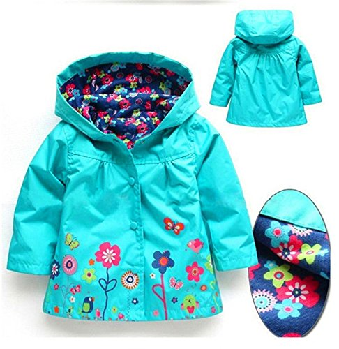 Blue Rain Flower Waterproof JIANLANPTT Jacket Colorful Baby Coat Girls' Wind Hooded 64wTSq