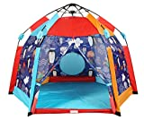 UTEX Automatic Instant 6 Kids Play Tent for Indoor/ Outdoor Fun,Kids Beach Tent Sun Shelter with Zippered Mesh Front, Camping Playhouse Indoor Playground, 66″ x 66″ x 44″(Sea Cabana)
