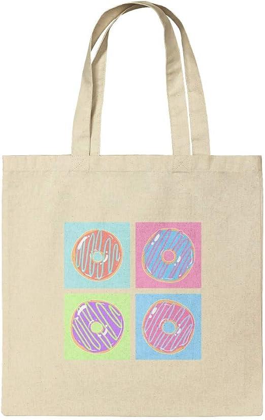 Bolsa reutilizable con diseño de donuts retro, algodón, multicolor ...