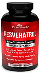 Resveratrol Extra Strength Formula with Grape Seed, Green Tea and Red Wine Extract Supplement - 1400mg - 60 Veggie Capsules