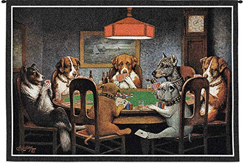 Dogs Playing Poker by Cassius Marcellus Coolidge | Woven Tapestry Wall Art Hanging | Classic Whimsical Game Room Art | 100% Cotton USA Size - Dogs Playing Pool Coolidge