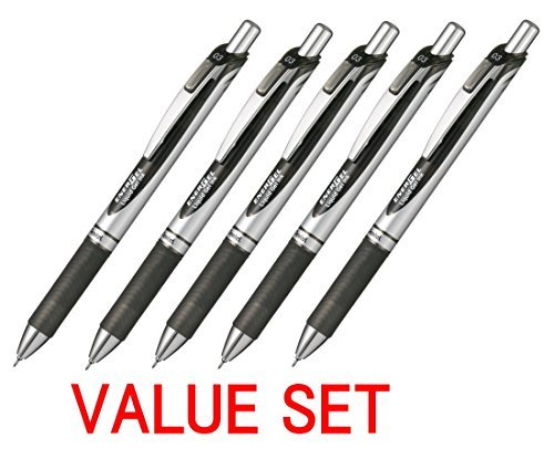 Pentel New EnerGel Deluxe RTX Retractable Liquid Gel Pen,Ultra Micro Point 0.3mm, Fine Line, Needle Tip, Black Ink Value set of 5 (With Our Shop Original Product Description) (0.3% Gel)