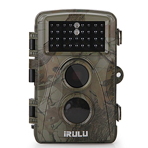 iRULU Trail Camera 12MP 1080P HD 2.4inch LCD Screen 5 Megapixel CMOS sensor 34pcs IR LEDs 0.6s Trigger Time IP56 Waterproof for Hunting Scouting Wildlife Monitoring and Home Security