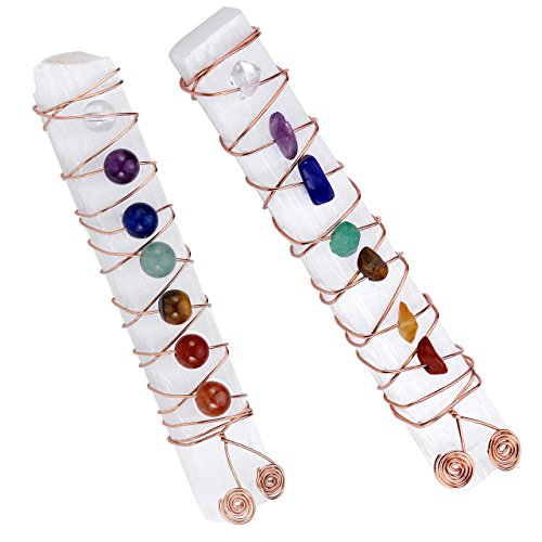Top Plaza 7 Chakra Reiki Healing Crystal Copper Wire Wraped Raw Selenite Stick for Yoga Meditation Balancing(Set of 2)